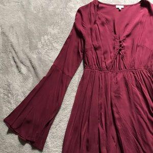 Maroon Tobi Long Sleeve Cut Out Dress NWOT